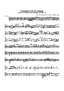 Double Concerto for Two Violins, Strings and Basso Continuo in D Minor, BWV 1043: violino parte I by Johann Sebastian Bach