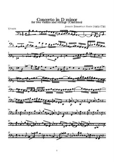 Double Concerto for Two Violins, Strings and Basso Continuo in D Minor, BWV 1043: parte basso continuo by Johann Sebastian Bach