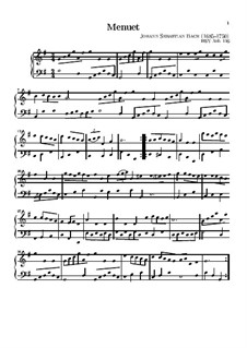 No.7 Minuet in G Major, BWV Anh.116: para teclado by Johann Sebastian Bach