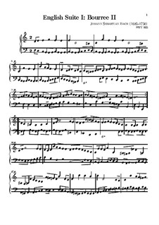 Suite No.1 in A Major, BWV 806: Bourrée II by Johann Sebastian Bach