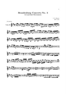 Brandenburg Concerto No.3 in G Major, BWV 1048: Movements I, II – violin III part by Johann Sebastian Bach