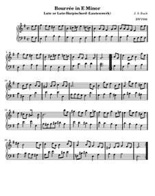 Suite for Lute (or Harpsichord) in E Minor, BWV 996: Bourrée. Version for harpsichord by Johann Sebastian Bach