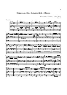 Sonata for Two Mandolins and Basso Continuo in G Major: partitura completa by Emanuele Barbella
