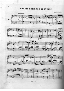 Sextet in E Flat Major, Op.81b: Adagio, for piano by Ludwig van Beethoven