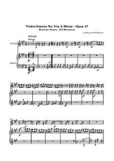 Sonata for Violin and Piano No.9 'Kreutzer', Op.47: movimento III by Ludwig van Beethoven