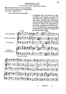 Sonata for Two Violins and Cello No.2: Sonata for Two Violins and Cello No.2 by Giovanni Battista Bassani
