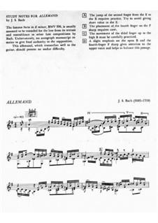 Suite for Lute (or Harpsichord) in E Minor, BWV 996: Allemande. Arrangement for guitar by Johann Sebastian Bach
