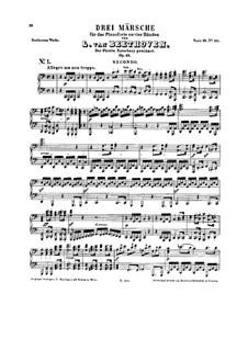 Three Marches , Op.45: versão para piano de quatro mãos by Ludwig van Beethoven