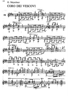L'africaine (The African Woman): Coro dei vescovi, for Guitar by Giacomo Meyerbeer