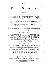 An Essay on Musical Expression: An Essay on Musical Expression by Charles Avison