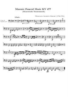 Masonic Funeral Music, K.477: Basset horn part by Wolfgang Amadeus Mozart
