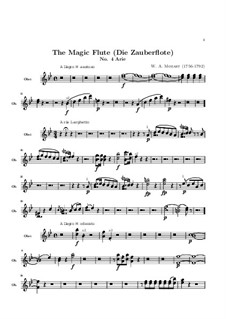 Oh, Tremble not, My Beloved Son: parte Oboe by Wolfgang Amadeus Mozart