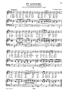 Lebewohl, Op.22: Partitura Piano-vocal by Friedrich Silcher