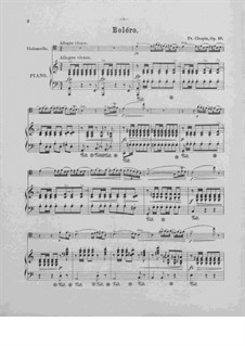 Bolero in A Minor, Op.19: para Violoncelo e piano by Frédéric Chopin