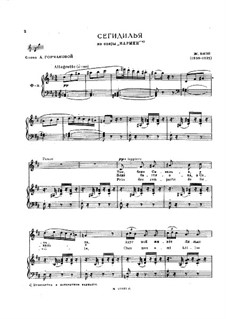Seguedille: Partitura piano-vocal by Georges Bizet
