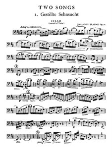 Two Songs for Voice, Viola and Piano, Op.91: parte violoncelo by Johannes Brahms