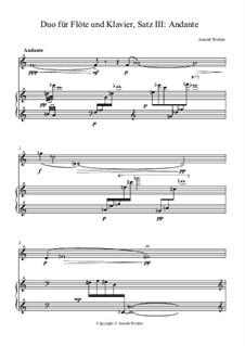 Duo für Flöte und Klavier in 4 Sätzen: III. Andante by Arnold Wohler
