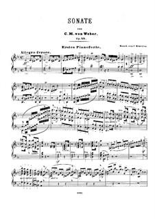 Sonata for Piano No.3 in D Minor, J.206 Op.49: arranjos para dois pianos de quatro mãos by Carl Maria von Weber