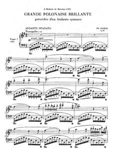Andante spianato and Grand Brilliant Polonaise, Op.22: dois pianos de quatro mãos by Frédéric Chopin