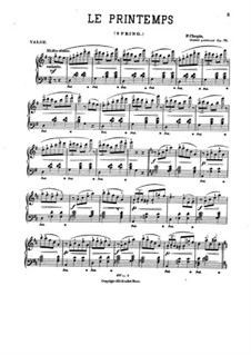 Waltzes, Op. posth.70: No.1 (Le printemps). Version in G Major by Frédéric Chopin