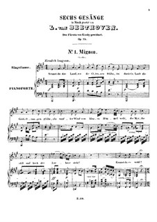 Six Songs, Op.75: Partitura piano-vocal by Ludwig van Beethoven