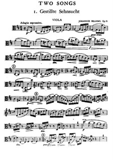 Two Songs for Voice, Viola and Piano, Op.91: parte viola by Johannes Brahms