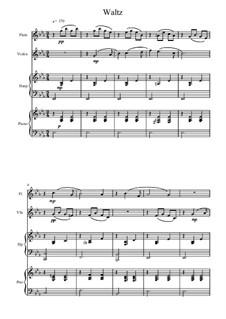 No.8 Waltz: Arrangement for flute, violin, piano and harp by Pyotr Tchaikovsky