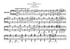 Suite No.1, Op.46: arranjos para piano de quatro mãos by Edvard Grieg