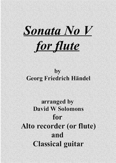 Sonata for Flute and Harpsichord in F Major, HWV 369 Op.1 No.11: Verison for flute (or recorder) and guitar by Georg Friedrich Händel