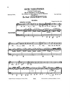 Six Variations, WoO 74: Version for voice and piano four hands  by Ludwig van Beethoven