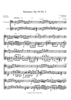 Three Romances for Oboe (or Violin) and Piano, Op.94: Romance No.3. Version for Cello and Guitar by Robert Schumann