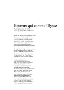 Heureux qui comme Ulysse for alto and guitar: Heureux qui comme Ulysse for alto and guitar by David W Solomons