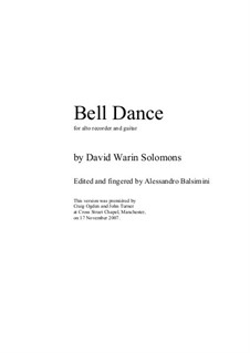 Bell Dance: For alto recorder and guitar by David W Solomons
