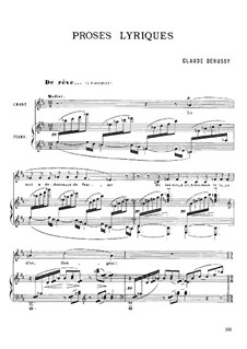 Lyrical Prose, L.84: Partitura piano-vocal by Claude Debussy