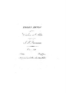 Three Duets for Violin and Viola, Op.7: Three Duets for Violin and Viola by Johann Friedrich Barmann