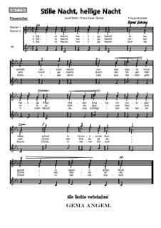 Silent Night (Downloadable): para coro feminino, Op.173 F by Franz Xaver Gruber