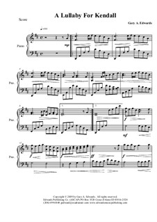 A Lullaby for Kendall: Para Piano by Gary Edwards
