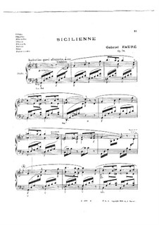 Sicilienne for Cello and Piano, Op.78: versão para piano by Gabriel Fauré