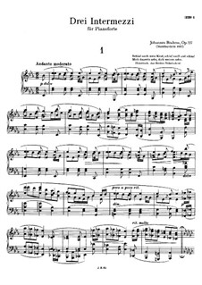 Three Intermezzos, Op.117: set completo by Johannes Brahms