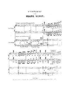 Piano Concerto No.1 (for Two Pianos Four Hands), S.650: partitura para piano by Franz Liszt
