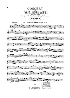 Concerto for Clarinet and Orchestra in A Major, K.622: Arrangement for clarinet and piano – clarinet part by Wolfgang Amadeus Mozart