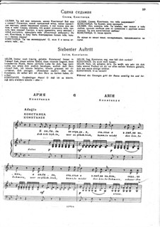 Aria of Konstanze 'Ach ich liebte, war so Glücklich': Piano-vocal score (Russian and German text) by Wolfgang Amadeus Mozart