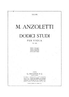 Twelve Etudes for Viola, Op.125: Twelve Etudes for Viola by Marco Anzoletti