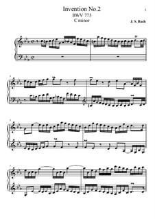 No.2 in C Minor, BWV 773: Para Piano by Johann Sebastian Bach