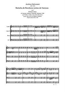 Battalla de Barabaso yerno de Satanas: partituras completas, partes by Andrea Falconieri