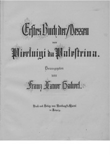 Masses: Book I, for Four Voices by Giovanni da Palestrina
