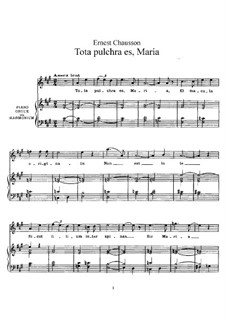 Tota pulchra es, Maria, Op.12: Partitura Piano-vocal by Ernest Chausson