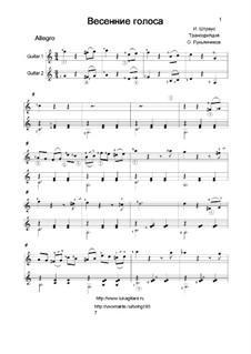 Voices of Spring, Op.410: para duas guitarras by Johann Strauss (Sohn)