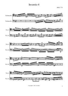No.4 in D Minor, BWV 775: para dois violoncelo by Johann Sebastian Bach