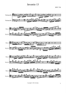 No.13 in A Minor, BWV 784: para dois violoncelo by Johann Sebastian Bach